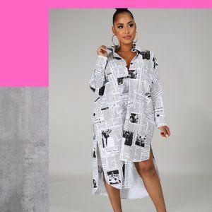 News Print Tunic Dress